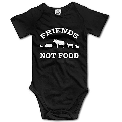 Unisex Infant Baby Bodysuit Friends Not Food - Short Sleeve Romper Black Onesies