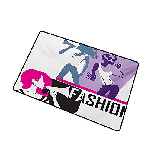 BeckyWCarr Teen Girls Welcome Door mat Composition of Girls Yelling into Megaphone Modern Stylish Fashion Themed Art Door mat is odorless and Durable W31.5 x L47.2 Inch,Purple Black
