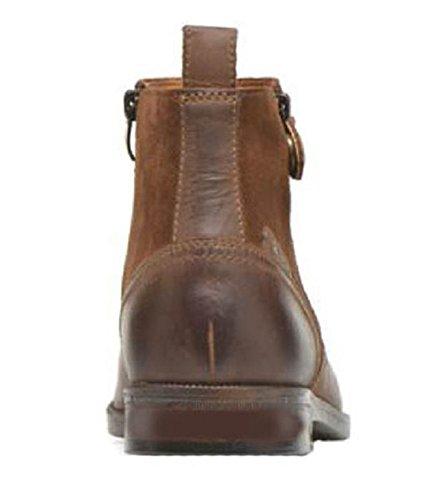 11sunshop Stivali Di Pelle Scarpe Modello Tristano Di Brown Disegno Hgilliane In 33-46