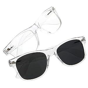 grinderPUNCH Crystal Clear Frame Lens Transparent Sunglasses Eyeglasses 2 Pack