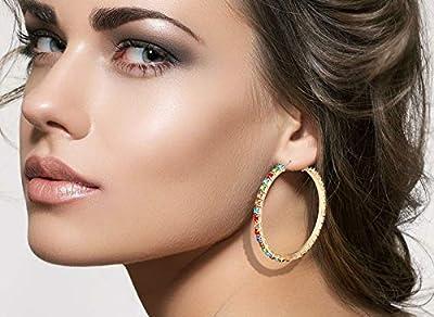 LPON Hoop Earrings for Women Multi Rainbow Cz Rhinestone Pave Hoop Earrings Statement Hypoallergenic Earrings