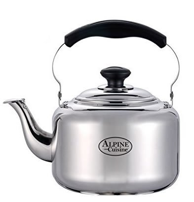 Large 3 Liter Alpine Cuisine Polished Mirror-Finish Stainless Steel Whistling Capsule Base Stovetop Teakettle Tea Kettle Teapot, Gas Electric Induction Compatible