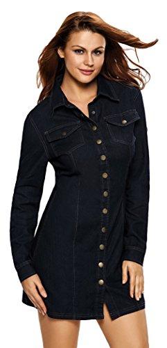La Vogue Robe Chemise Femme En Jean Noir Manches Longues Casual Moulant