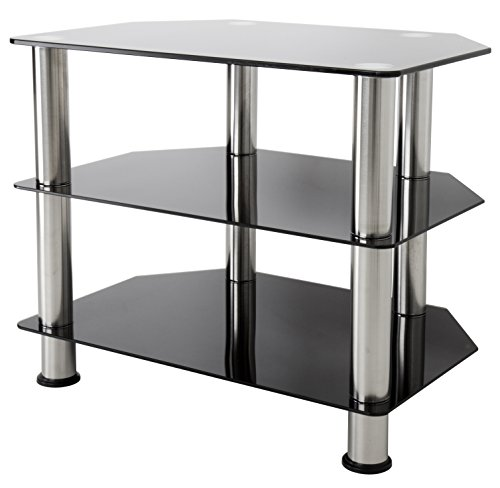 - AVF SDC600-A TV Stand for Up to 32-Inch TVs, Black Glass, Chrome Legs