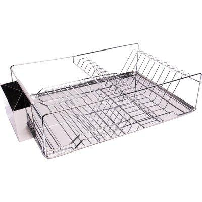 Home Basics 3 Piece Kitchen Sink Dish Drainer Set (Basket Stainless Drainer Steel)