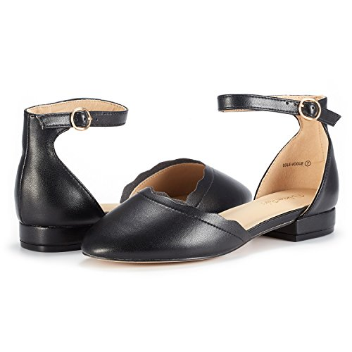 Low Fashion Ankle Women's Sole Stacked VOGUE PAIR Flats Shoes Straps DREAM PU BLACK OTqFnX1I
