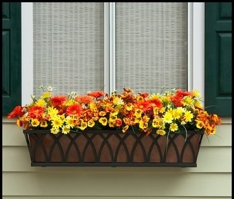 42'' Arch Decora Window Box with Bronze Galvanized Liner by Windowbox.com