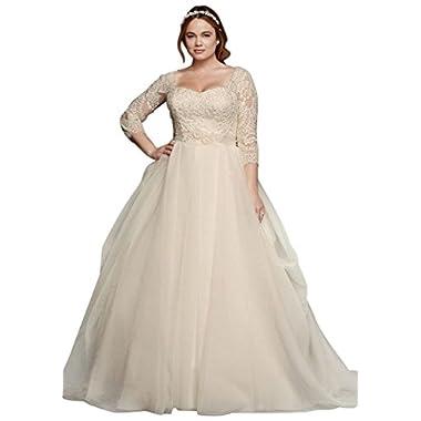 df90abe2978 Oleg Cassini Plus Size Organza 3 4 Wedding Dress Style 8CWG731
