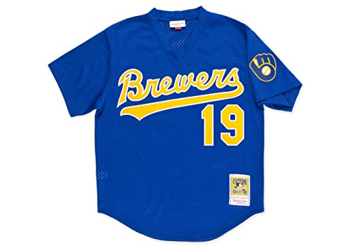 MLB Mitchell & Ness Robin Yount Milwaukee Brewers 1991 Authentic Throwback Mesh Batting Practice Jersey - Royal Blue (X-Large) Authentic Throwback Blue Jersey