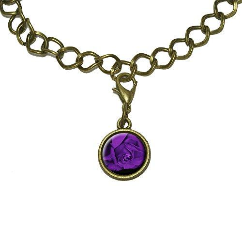 Rose Flower Purple Petals Charm with Chain Bracelet