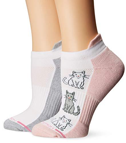 - Dr. Motion Women's 2PK Compression Low Cut Socks, Pale/Salmon/White Kitties Pattern, ONE SIZE