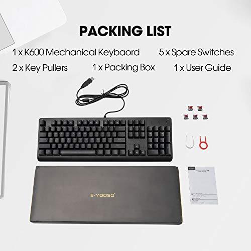 Mechanical Keyboard E-YOOSO K600 Red Switches104 Keys Gaming Keyboard 9 Modes LED Backlit RainbowUSB Wired Keyboard for Desktop Computer Laptop Windows PC
