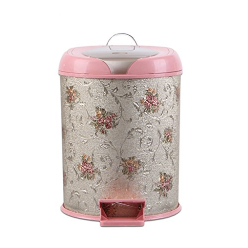 Zxwzzz Trash CANS European Creative Plastic Trash Can Pedal Household Kitchen Bathroom Trash Can Living Room Trash Can (Color : A) Designer Metal Trash Can