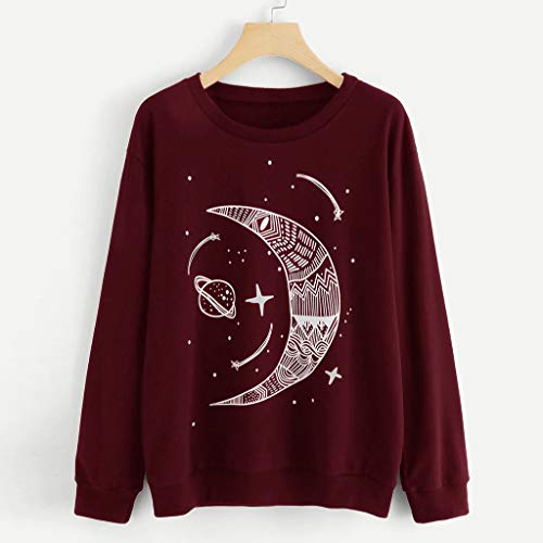 TUSANG Women's Shirts Casual Solid Color Star Moon Pattern Long-Sleeved Turtleneck Sweatshirt Slim Tunic Tops(Wine,US-8/CN-L) (Difference Between Faux Leather And Bonded Leather)