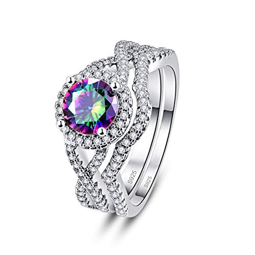 Psiroy 925 Sterling Silver Simulated Rainbow Topaz Bridal Set Wedding Band Ring for Women Size 8