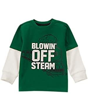 Baby Boy's Train Blowin' Off Steam Long Sleeve Shirt