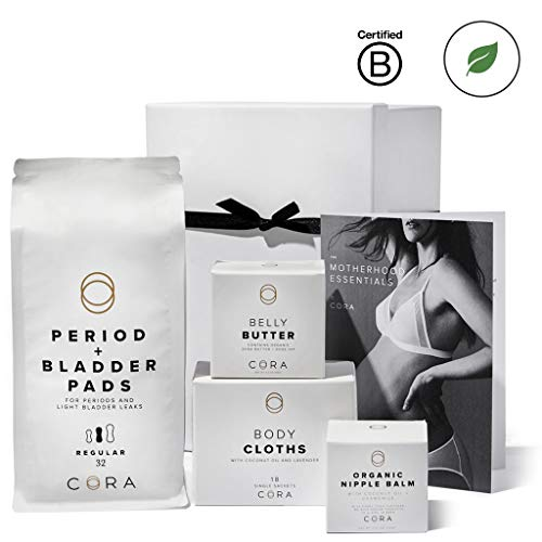 (Cora Maternity Gift Box Set (Organic Nipple Balm, Belly Butter, Bamboo Feminine Wipes and Ultra-Thin Hybrid Pads for Periods, Incontinence & Postpartum Care, Reusable Gift Box & Product Guide))
