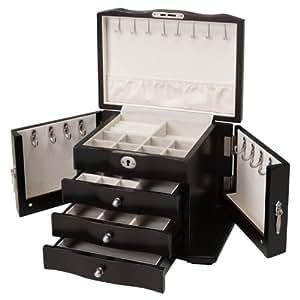 Seya Burlwood Wooden Jewelry Box w/ Lock and Key (Espresso)