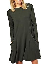 Kissky Women's Basic Long Sleeve Pockets Casual Swing Plain Tshirt Dress