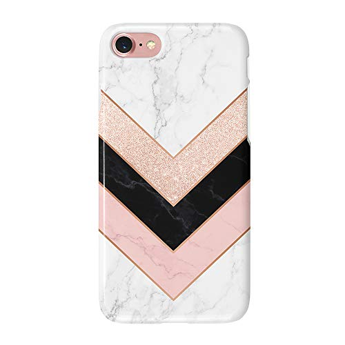 uCOLOR Case Compatible with iPhone 6S 6 iPhone 8/7 Cute Protective Case Glossy Rose Gold Marble Pink Black White Slim Soft TPU Silicon Shockproof Cover Compatible iPhone 6s/6/7/8(4.7