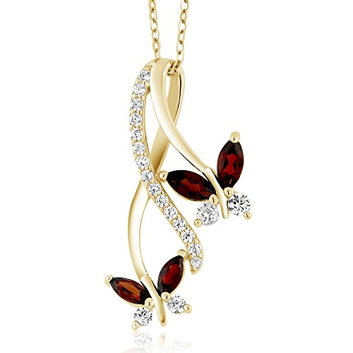 Gem Stone King 1.21 Ct Marquise Red Garnet 18K Yellow Gold Plated Silver Butterfly Pendant ()