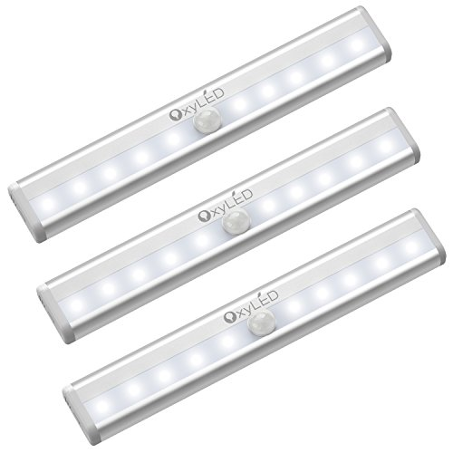 (OxyLED Motion Sensor Closet Lights, Cordless Under Cabinet Lightening, Stick-on Anywhere Wireless Battery Operated 10 LED Night Light Bar, Safe Lights for Closet Cabinet Wardrobe Stairs, 3 Pack)