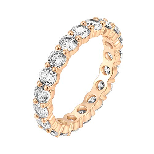 (PAVOI 14K Rose Gold Plated Cubic Zirconia Rings | 3.0mm Eternity Bands | Rose Gold Rings for Women Size 8)