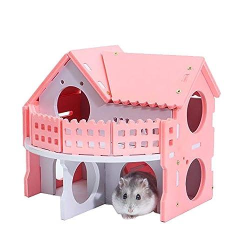DAYOLY Hamster House de Madera, Rosa de Lujo, Dos Capas, para ...