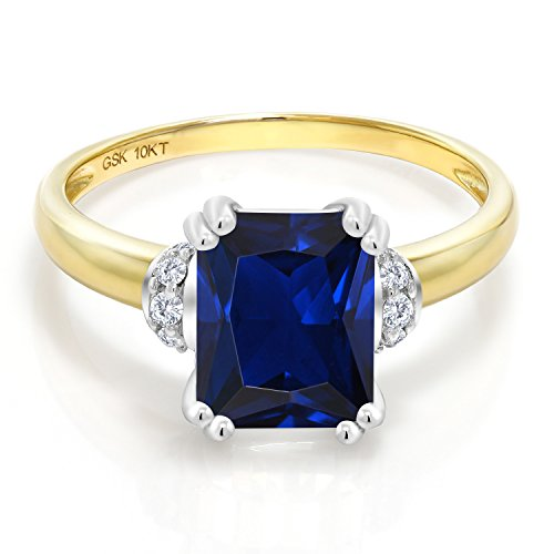 Gem Stone King 10K 2 Tone Gold Blue Created Sapphire and Diamond Accent Women's Engagement Ring (2.82 Ct Octagon) (Size 5) Blue Sapphire Two Tone Ring
