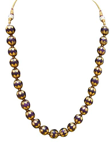 Sansar India Purple Beads Necklace Earrings Indian Jewelry Set 1409