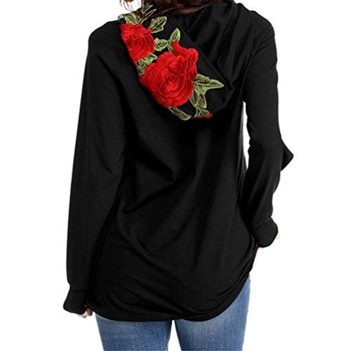 Sudaderas con Capucha Largas Mujer Hoodies Sudadera Pullover Sudaderas Flores Estampadas Anchas Deportivas Chica Camisetas de Manga Larga Jerseys Dama Camisas Bonitas Tops Negro