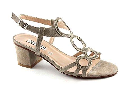 Grünland AULO SA1344 sandalias de gamuza color beige de diamantes de imitación mujeres Beige