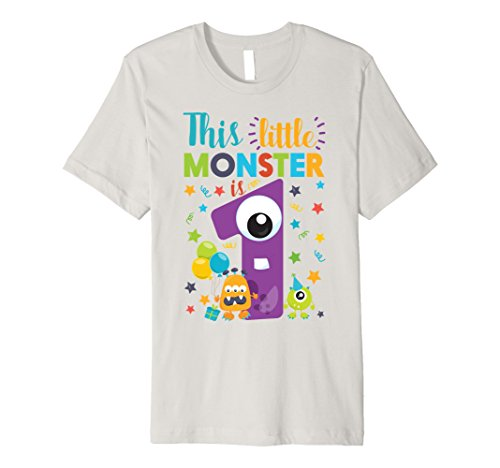 Funny 1 Year Old Halloween Costumes - Mens This Little Monster Is 1 Year Old Birthday & Halloween Shirt Small Silver