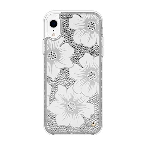 Kate Spade New York Phone Case | For Apple iPhone XR | Protective Clear Crystal Phone Cases with Slim Design and Drop Protection - Hollyhock Cream / Blush / Crystal Gems