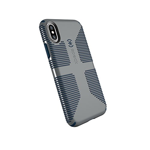 Speck Products CandyShell Grip Cell Phone Case for iPhone XS/iPhone X - Gravel Grey/DEEP Sea Blue