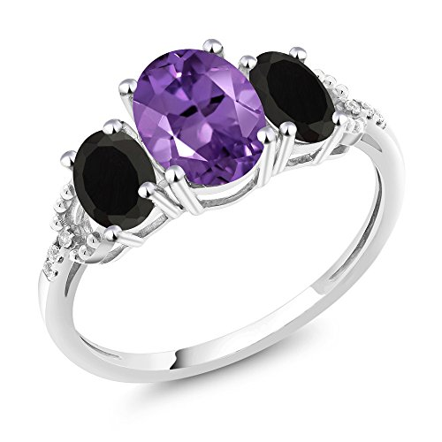 10K White Gold Diamond Accent Three-Stone Engagement Ring set with 1.83 Ct Oval Purple Amethyst & Black Onyx (Size 8)