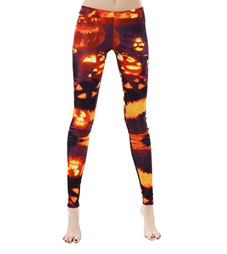 MolVee Women's Halloween Printing Leggings Elastic Tight Trousers Pencil Pants (XL, -