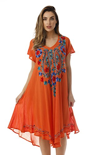 Rayon Crepe - Riviera Sun Rayon Crepe Short Sleeve Dress with Multicolored Embroidery 21856-ORG-1X