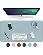 "Knodel Desk Pad, Office Desk Mat, 31.5"" x 15.7"" PU Leather Desk Blotter, Laptop Desk Mat, Waterproof Desk Writing Pad for Office and Home, Dual-Sided (Light Blue/Silver)"