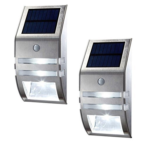[2 Pack]OxyLED OxySol TSP-02 Solar Powered, Automatic Motion Sensor, Super Bright LED Wall Mount Path Accent/Security Light for Staircase, Step, Garden, Yard, Wall, Drive ()