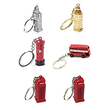 Die Cast Metal London City Keyrings, London Bus, Silver Big Ben, Gold Big Ben Post Box & Two Telephone Boxes – Set of 6 by London Heritage 41AJSTnnjSL