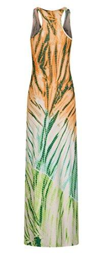 Tie Sleeveless Slim Women Maxi Cromoncent dye Round Fit Summer Dress Neck Orange dwXqq06