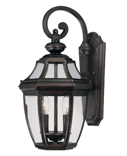 Savoy House Lighting 5-493-ES-13 Endorado Collection 2-Light Outdoor Energy Star Wall Mount Lantern, English Bronze Finish with Tuscan Glass