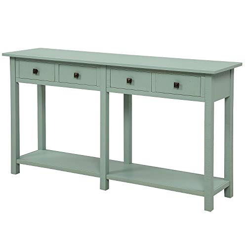 Hooseng Tiffany Blue Farmhouse Hallway Rustic Brushed Texture Entryway Console Table with Drawers and Bottom Shelf for Living Room