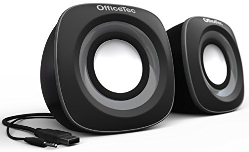 - OfficeTec USB Computer Speakers Compact 2.0 System for Mac and PC (Gray)
