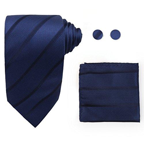 Y&G H7018 Blue Striped Collection Gift Silk Groomsmen Gift Ties Cufflinks Hanky Set ()