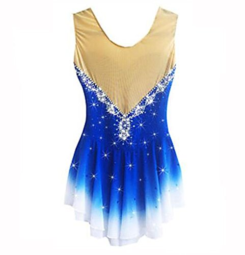 Ragazza Ice Vestito Skating Acquamarina Chinlon Zhangminzl Elasticità Performance Lunghe Maniche Spandex Donna Solido Dress Alta Pattinaggio Da wIq5XY