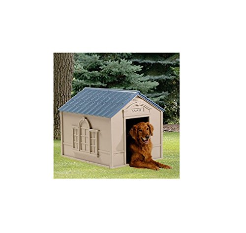 Deluxe Dog House Furniture Ventilated, Sturdy Plastic, Taupe & Blue