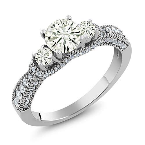 925 Sterling Silver 3-Stone Ring Forever Classic (KLM) Round 0.70ct (DEW) Created Moissanite by Charles & Colvard (Size 9)