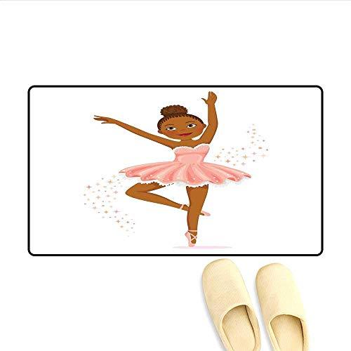 Doormat Ballerina Dancing Daughter Classic Performance Hobby Birthday Kids Baby Theme Bath Mat for Tub Bathroom Mat Rose and Brown 16